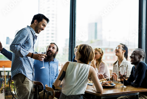 Poster People having meal together in the restaurant