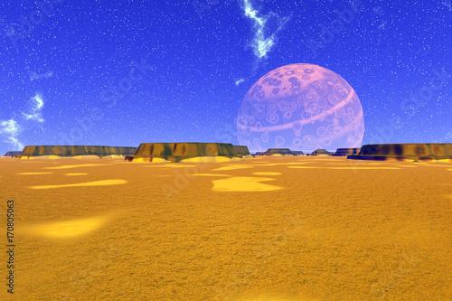 Aluminium Donkerblauw Fantasy alien planet. 3D rendering