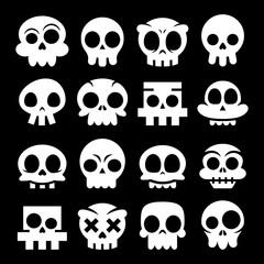 Halloween vector cartoon skull icons, Mexican white cute sugar skulls design set, Dia de los Muertos on black background