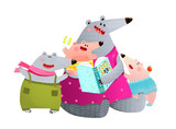 Bear Family Reading Book Mother with Children