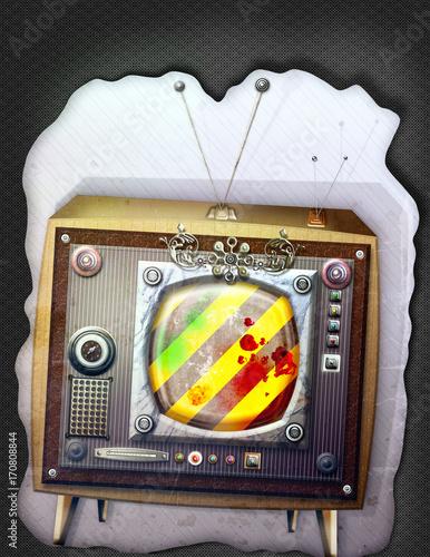 Papiers peints Imagination Big brother. Graffiti e collage con televisore fantascientifico e steampunk
