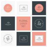 Fototapety Floral logo collection. Logos, badges, emblems, logotypes design.