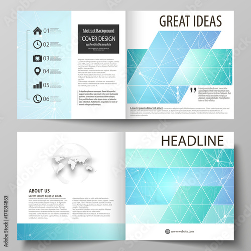 Business templates for square design bi fold brochure, flyer. Leaflet cover, vector layout. Chemistry pattern, connecting lines and dots, molecule structure, medical DNA research. Medicine concept.