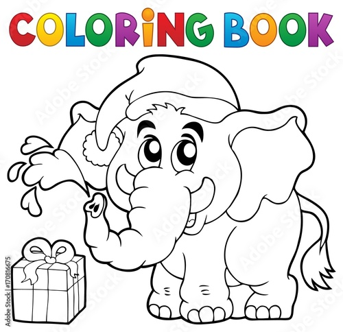 Fotobehang Voor kinderen Coloring book Christmas elephant