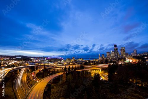 Fotobehang Nacht snelweg Seattle twilight