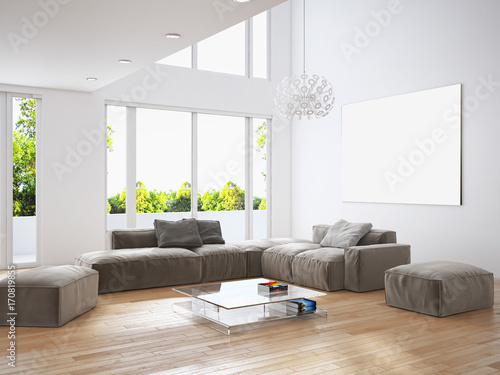 Sticker Modern bright living room, white wall. 3D rendering