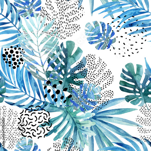 Abstract palm, monstera leaf seamless pattern. - 170821000