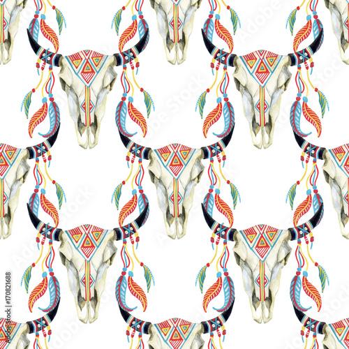 watercolor cow skull - 170821688