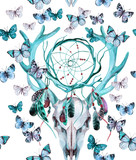 Deer skull seamless pattern. Animal skull with dreamcather and butterfly. - 170822673