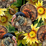 Watercolor turkey with sunflowers seamless pattern - 170825680