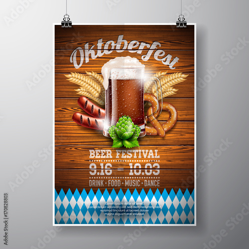 Oktoberfest poster vector illustration with fresh dark beer on wood texture background. Celebration flyer template for traditional German beer festival. - 170828803