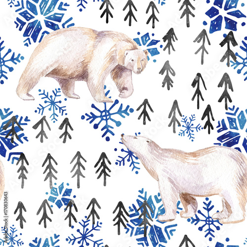Watercolor winter seamless pattern with abstract elements. - 170830643