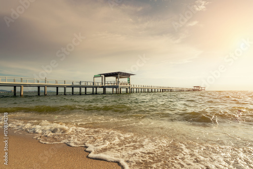 Fotobehang Thailand Wooden pier between sunset in Phuket, Thailand. Summer, Travel, Vacation and Holiday concept.