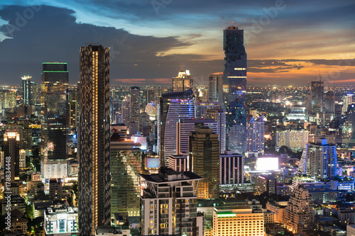 Modern building in Bangkok business district at Bangkok city with skyline at twilight, Thailand