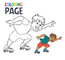 coloring page with roller skates player cartoon