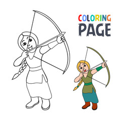 coloring page with woman archer cartoon