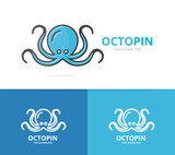 Vector of octopus logo. Unique marine and seafood logotype design template.