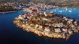 Aerial panorama of marina and resort adriatic town Primosten, Croatia. - 170848035