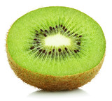 Front view of half kiwi fruit isolated on white background