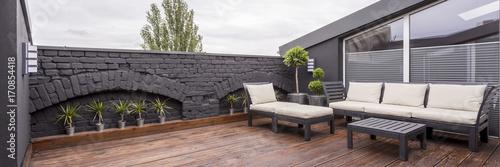Leinwandbild Motiv Rooftop terrace with wooden flooring