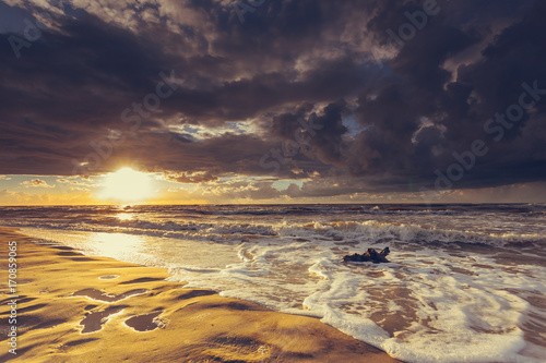 Fotobehang Zee zonsondergang Golden sunset and tree root on beach