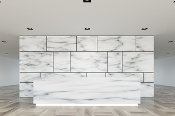Marble and glass reception lobby closeup