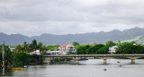 Foto op Canvas Wit River scene in Mahebourg, Mauritius