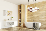 White and wooden bathroom, side - 170863056
