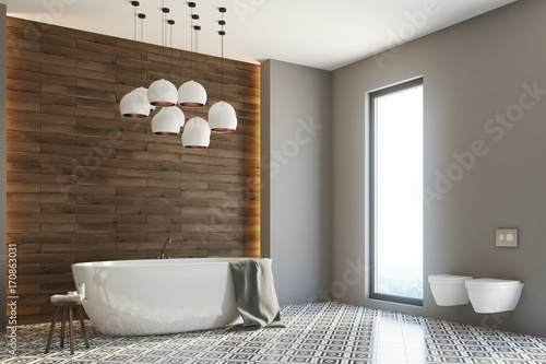 Gray and wooden bathroom, side