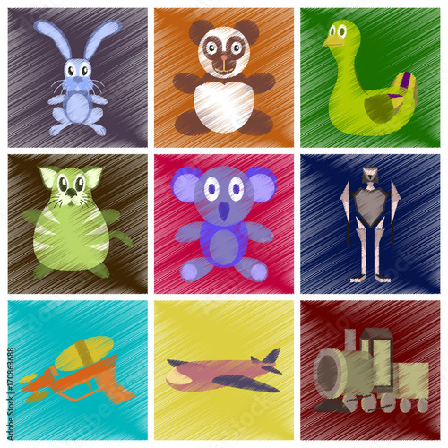 Fotobehang Auto assembly flat shading style icons Kids toys