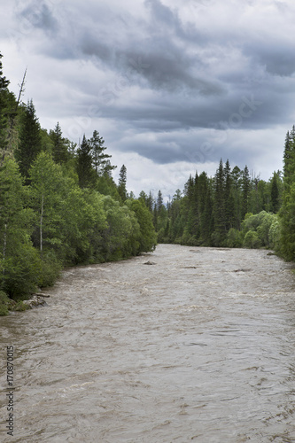 Aluminium Bergrivier Mountain river in Siberia