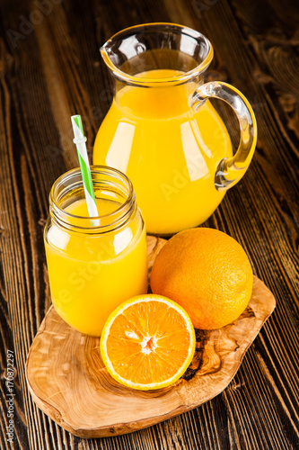 Foto op Plexiglas Sap Jar of orange juice