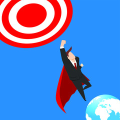 Super businessman flying into the sky hit the target