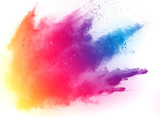 abstract multicolored powder splatted on white background,Freeze motion of color powder exploding - 170873806