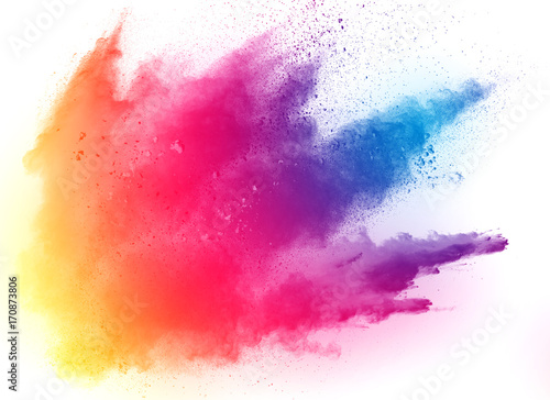 abstract multicolored powder splatted on white background,Freeze motion of color powder exploding