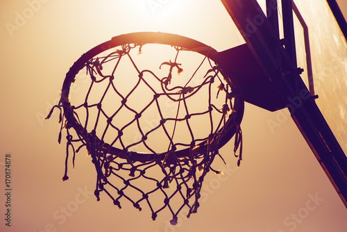 Aluminium Basketbal Basketball hoop on amateur outdoor basketball court