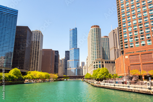 Chicago River and Skyscrapers Poster