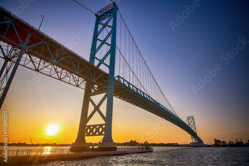 View of Ambassador Bridge connecting Windsor, Ontario to Detroit Michigan