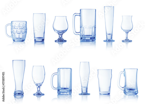 Poster Collection of different beer glasses isolated on white