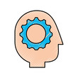 gear inside head human profile business concept vector illustration