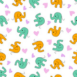 Seamless blue and orange cute elephants pattern with pink and purple hearts on a white background - Eps10 vector graphics and illustration