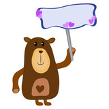 Simple brown bear cartoon holding a blank signboard with hearts isolated on a white background - Eps10 vector graphics and illustration