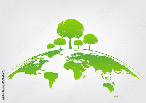 Green Tree On Earth For Ecology Friendly Concept And World