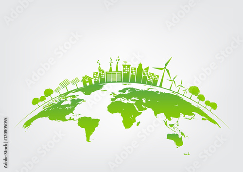 Green city on earth, World environment and sustainable development concept, vector illustration - 170905055