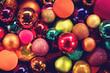 Leinwandbild Motiv Viele glitzernde und glänzende Christbaumkugeln, Hintergrund Weihnachten