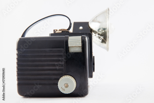 Antique camera isolated on white background Poster