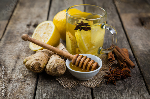 Poster Ginger tea with lemon and honey