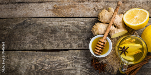 Ginger tea with lemon and honey Poster