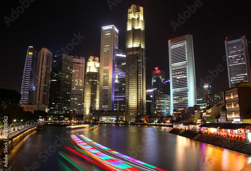 Singapore Skyline at  Nightime from South Bridge Road.  Poster