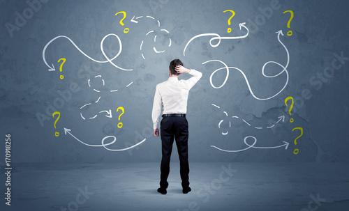 Zobacz obraz Unsure businessman with question marks